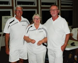 Third 3-game winners David Gardner, Janet Gardner and Dave Richards